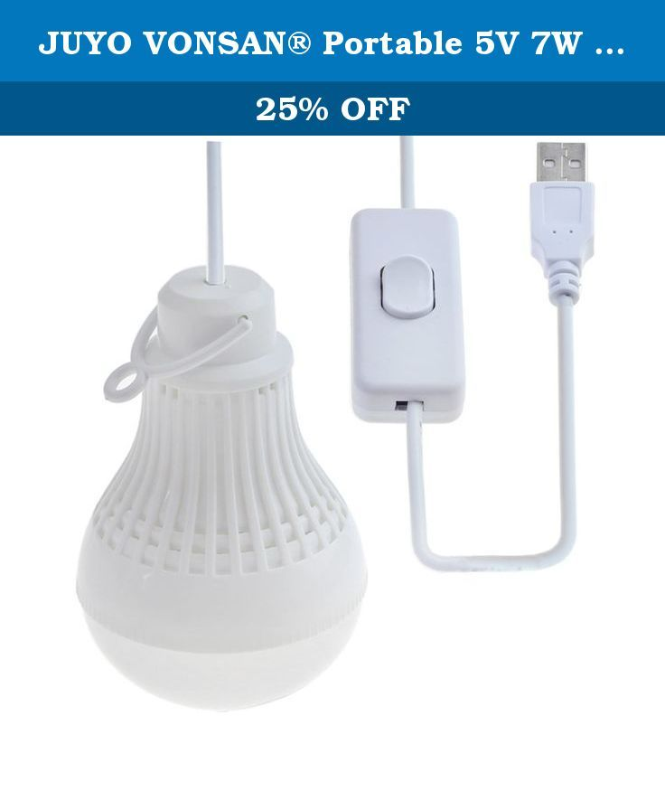 JUYO VONSAN® Portable 5V 7W White USB LED Light bulb with switch for Camping, Children Bed Room, Emergency Light (White, 7W). Package Contents: 1PC Portable Hook Outdoor Camping USB 7W DC 5V LED Light Bulb Cool White.