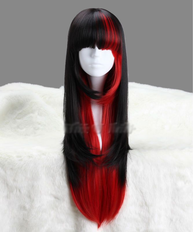 Black Red Anime Cosplay Wig In 2020 Wig Hairstyles Wigs Anime Red Hair