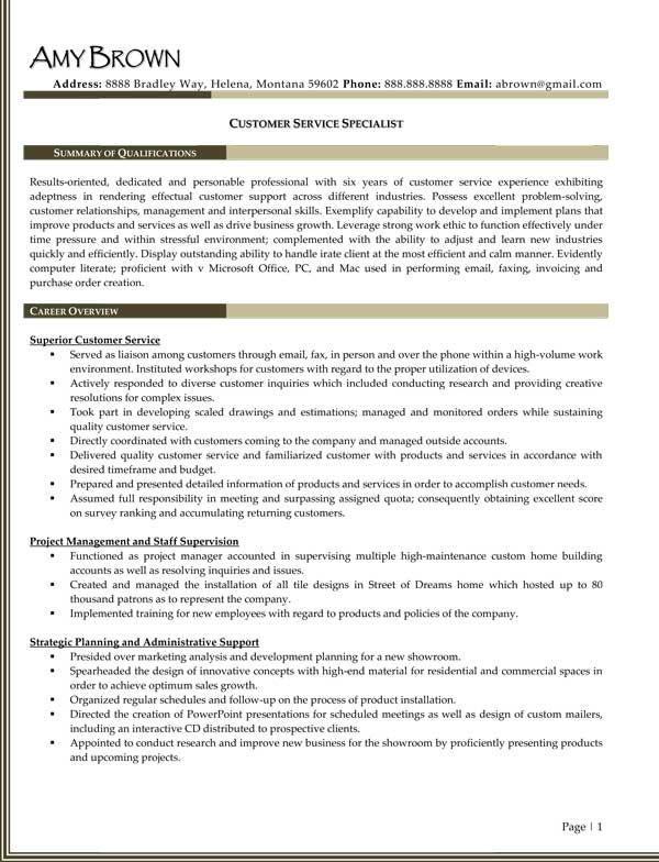 Customer Care Specialist Sample Resume. Customer Service Sales ...