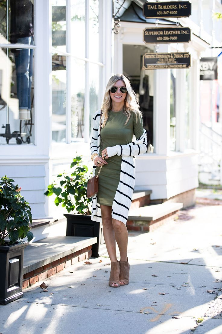 Olive Dress and Striped Cardigan #cardigan #dress #olive #striped