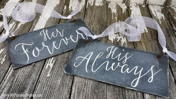 RUSTIC Chalkboard Signs | Chair Signs | Her Forever | His Always | Mr and Mrs Wedding Signs | Double Sided | Reversible | Rustic Wedding