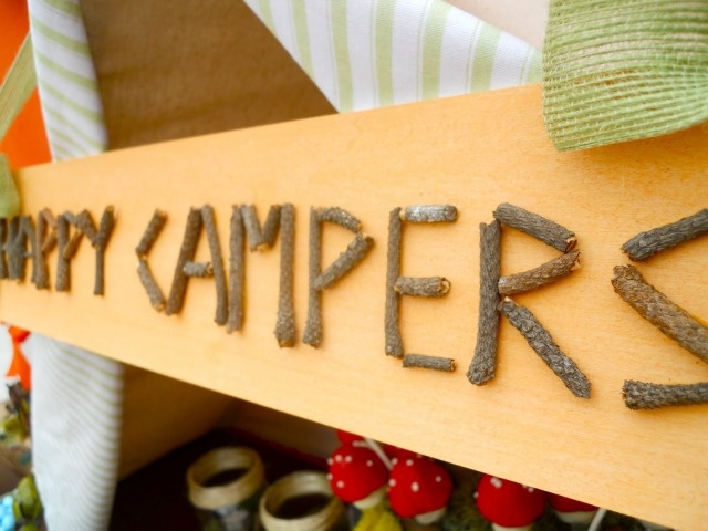 """Camping party - sign made out of twigs! Could use for """"mess hall"""" by food"""