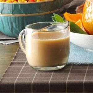 "Creamy Turkey Gravy Recipe -""With my easy recipe, even someone who has never made homemade gravy before can be assured of success,"" says Phyllis Schmalz of Kansas City, Kansas."