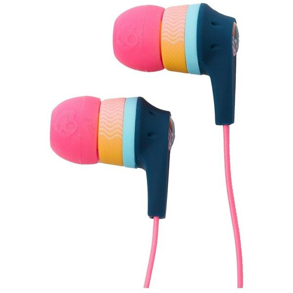 Skullcandy Ink'd 2.0 Mic'd (Pink/Yellow/Navy) Headphones ($21) ❤ liked on Polyvore featuring accessories, tech accessories, pink earbuds, ear bud headphone, skullcandy earbuds, earbud headphones and skullcandy