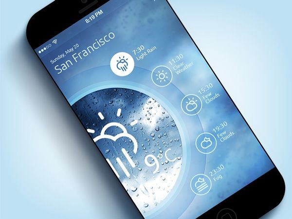 ios 7 weather app concept design Great Examples of Mobile Apps Interface Designs