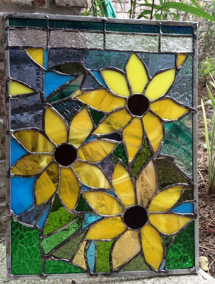 "Stained Glass  Sunflower Autumn Suncatcher Transom Window Panel   12""x16"""
