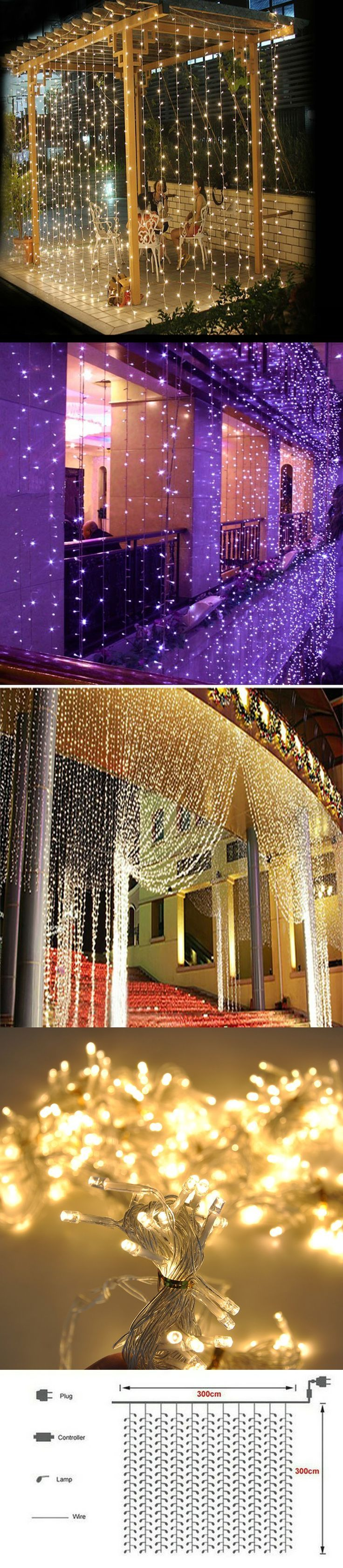 Curtain lights for weddings - 2016 3m X 3m 300 Led Outdoor Home Warm White Christmas Decorative Xmas String Fairy Curtain Garlands Party Lights For Wedding