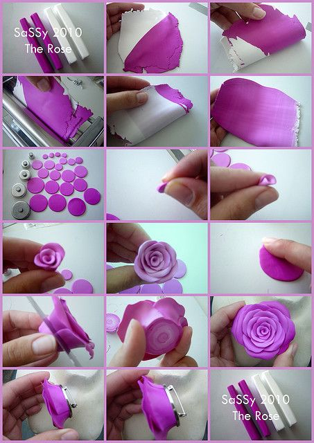 Picture tutorial how to make a polymer rose brooch