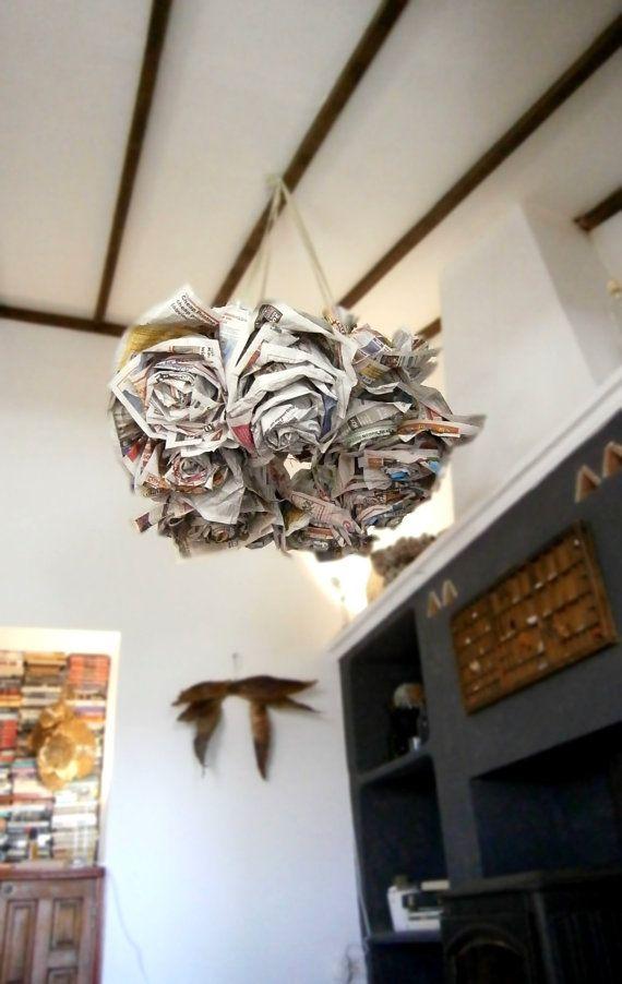 Giant  newspaper rose chandelier  handmade decor  by plantiform, €10.00