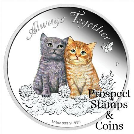 2015 Always Together 1/2oz Silver Proof Coin  The Perth Mint will release no more than 7,500 of the Always Together 2015 1/2oz Silver Proof Coin. The coin's reverse depicts a coloured representation of a grey kitten and a ginger coloured kitten, sitting side by side in a field of flowers with a butterfly flying through the air. The design also includes the inscription 'Always Together'