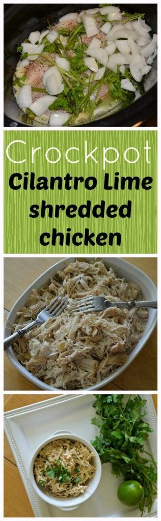 Crockpot Cilantro Lime Chicken...I've tried it one time with bone in chicken breasts and thighs (removed skin after the cooking process). I added a little cumin and Lawry's seasoning salt. Next time I'm going to use boneless chicken to see how that turns out. Less work. This was good to use as leftovers as sandwiches or soup. ~ Stacey