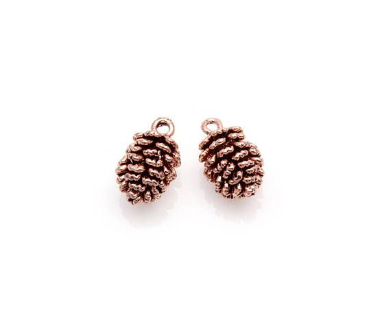 2pcs  Pinecone Charm in Antique Rose Gold / cone charm / cone