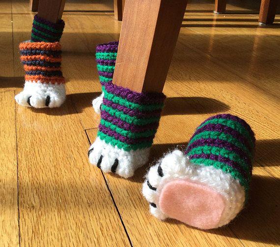 Cat Paw Chair Socks Set Of 4 Socks Chair Socks Chair Socks Crochet Chair Socks Pattern