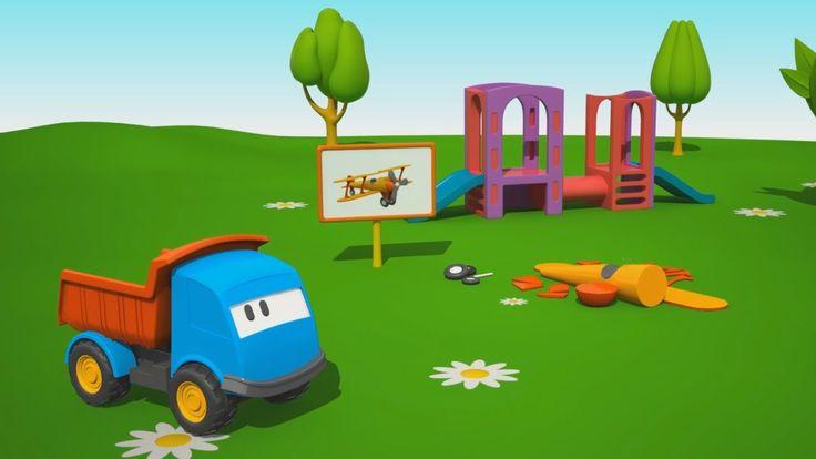 Leo il camion curioso e un aereo - Cartoni animati per bambini