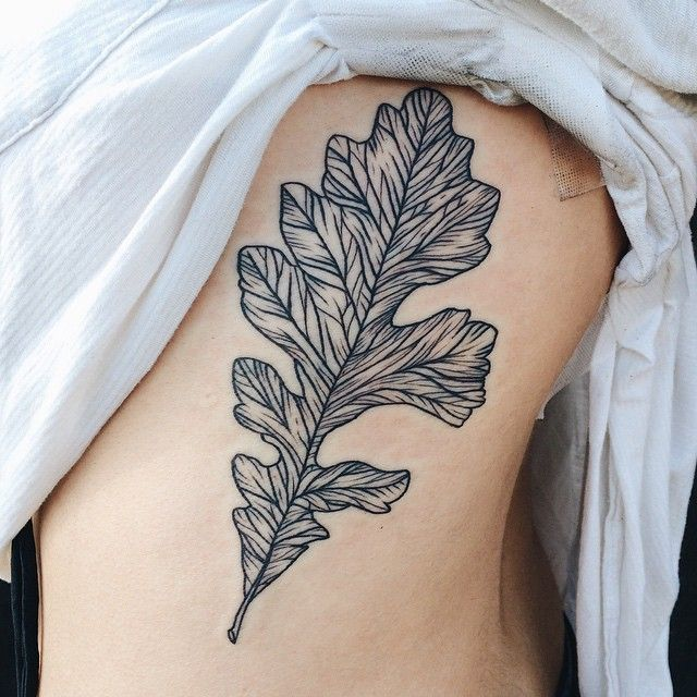 Oak leaf on the ribs for Claudia's first tattoo. Thanks Claudia - you survived!