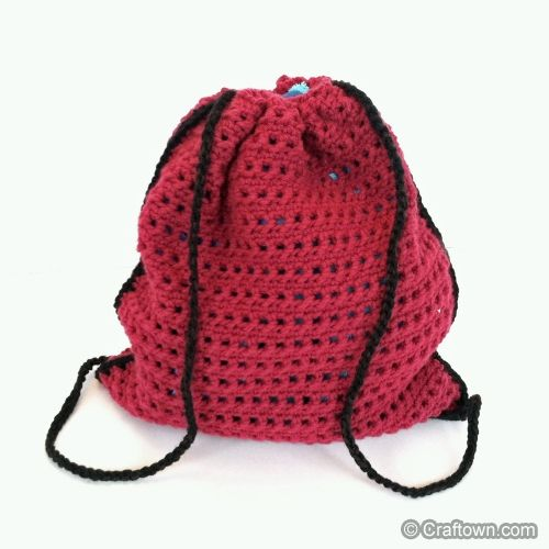"""Crochet pattern """"Sassy Drawstring Backpack"""" from CraftTown"""