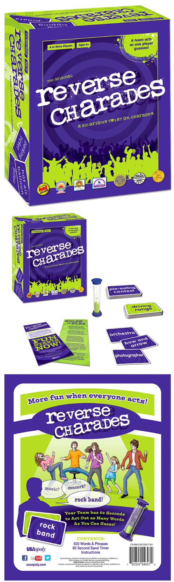 Award-winning Reverse Charades is a hilarious twist on the classic game of charades. Instead of one person acting out a clue for a team to guess, a team acts out clues for one person, so now everyone is in on the fun! Your team has 60 seconds to act out as many words as the guesser can get. The team with the most correct guesses wins! Reverse Charades is perfect for family fun, parties or team building! #ReverseCharades #icebreaker #partygames #familyfun #USAopoly