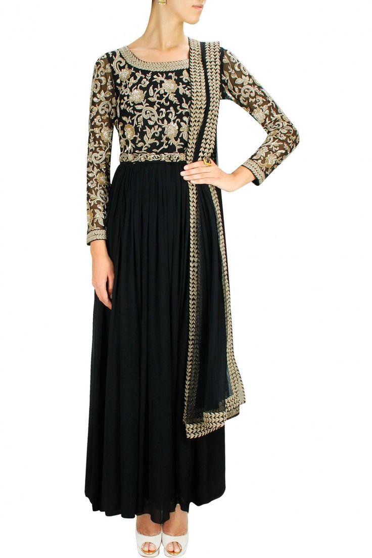 Black embroidered anarkali set with studded waist belt. By MALASA. Shop designer now at www.perniaspopups... #designer #indian