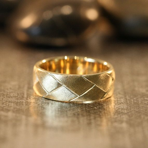 Unique Mens Wedding Band 14k Yellow Gold Recycled by LaMoreDesign