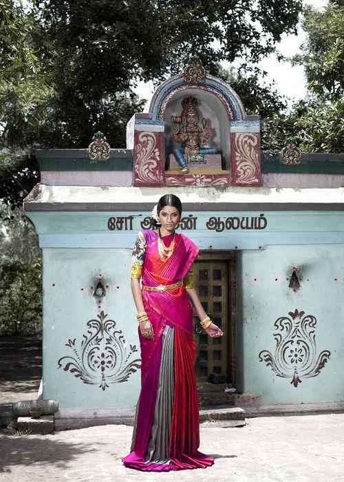 South Indian bride. Temple jewelry. Pink silk kanchipuram sari. Side bun with fresh flowers. Tamil bride. Telugu bride. Kannada bride. Hindu bride. Malayalee bride.