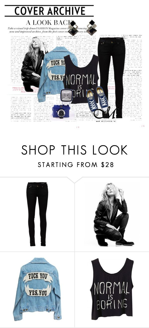 """""""1.2 Edgy urban rock statement earrings"""" by messybunnl on Polyvore featuring mode, Yves Saint Laurent, Superfine en Converse"""