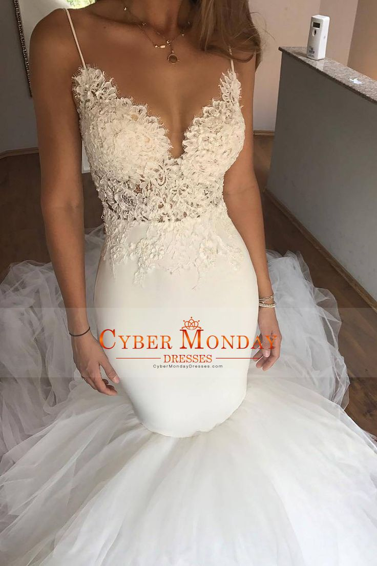 2017 Spaghetti Straps Wedding Dresses Mermaid Tulle With Applique Open Back