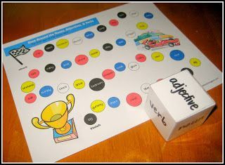 FREE GRAMMAR DOWNLOAD~  Print out this Race Around the Nouns, Verbs, & Adjectives game board, cheat sheet, and rules.  Great way to practice parts of speech!