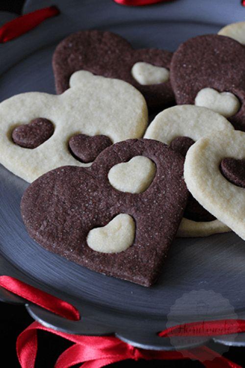 Heerlijke vanille chocolade harten koekjes! Perfect voor valentijn.