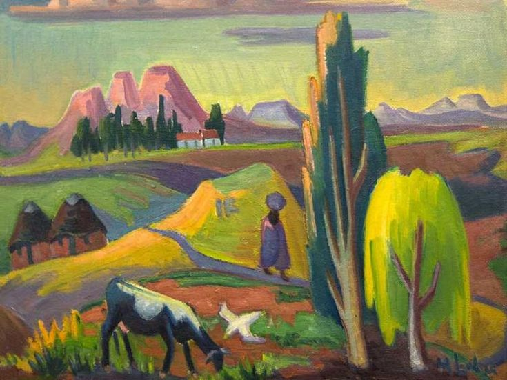 Maggie Laubser (SA 1886 - 1975) Oil, Landscape with Huts Tree Figure Cow and a Bird, Signed, 45 x 55 Pp.335 of 'Maggie Laubser' by Dalene Marais