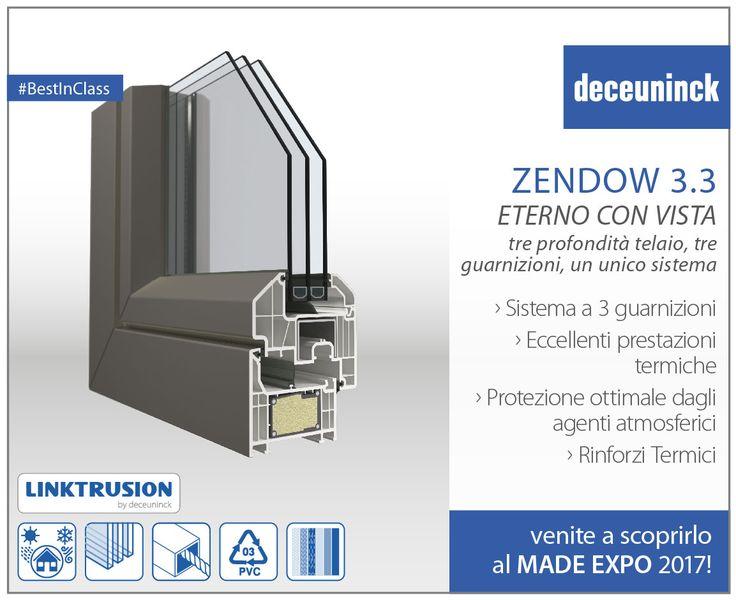 ZENDOW 3.3 • Tre profondità telaio, tre guarnizioni, un unico sistema. Con Zendow3.3 puoi scegliere la profondità del telaio tra 76 mm, 84 mm e 90 mm, mantenendo sempre le stesse ante, per poter soddisfare tutti i tipi di richiesta. • Sistema a 3 guarnizioni. La guarnizione centrale flessibile, situata nella battuta del telaio fisso, contribuisce notevolmente a migliorare l'isolamento termico. • Eccellenti prestazioni termiche (Uf fino a 0,96 w/m2k) • Protezione ottimale dagli agenti…