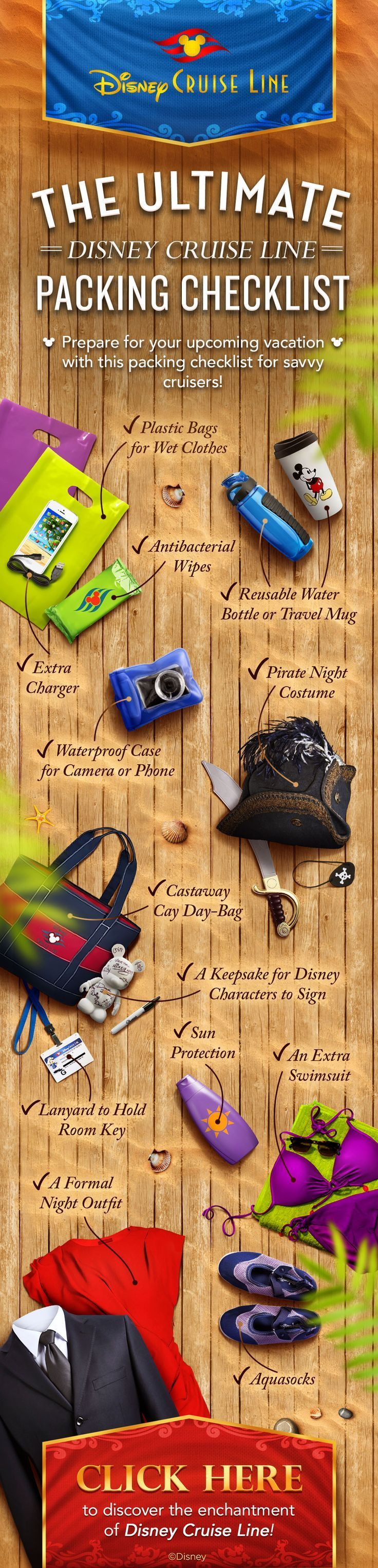 Essentials to pack for your Disney Cruise! Ready to sail? Contact me at www.swawtraveldenise.com!