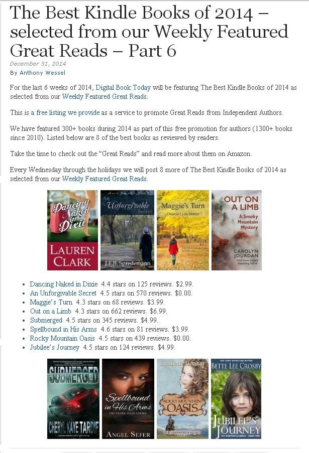 Wow! What a great way to start the New Year! I am so excited and honored to have Spellbound in His Arms selected as one of the eight Best Kindle Books of 2014!