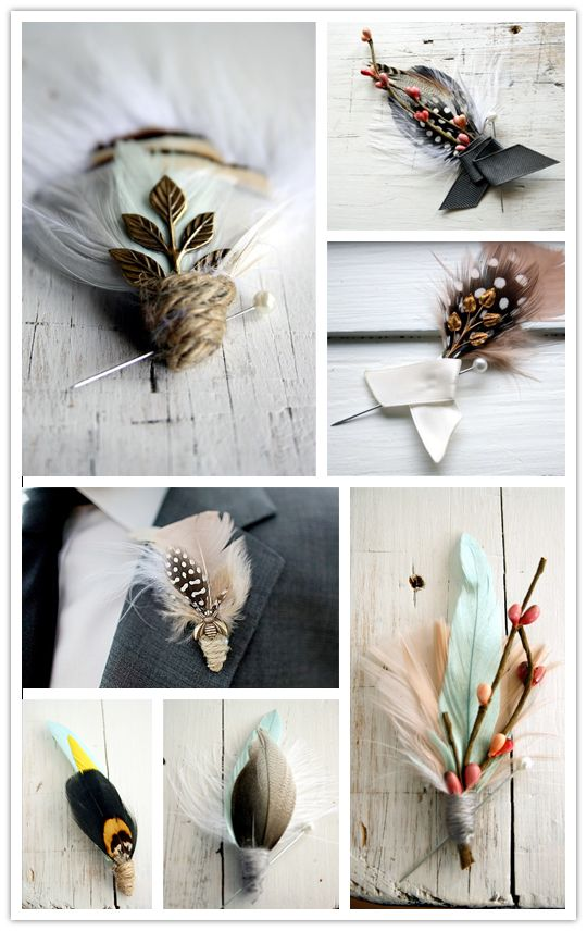 gorgeous boutonnieres from Pomp & Plumage #feather #wedding #boutonnieres