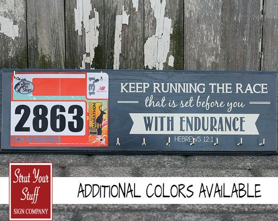 Running Medals Holder and Race Bib Hanger  - Hebrews12:1 - Keep Running the Race