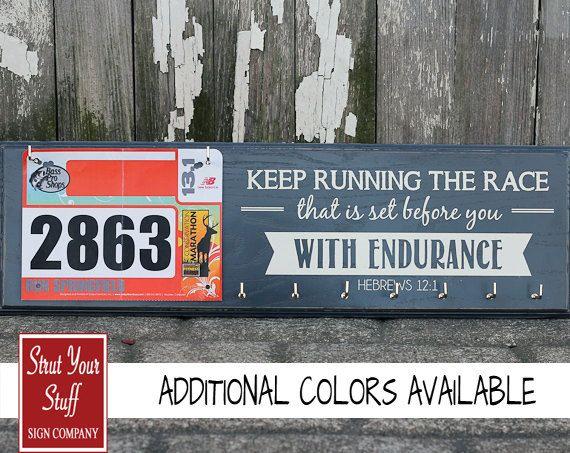 Running Medals Holder and Race Bib Hanger  - Hebrews12:1 - Keep Running the Race
