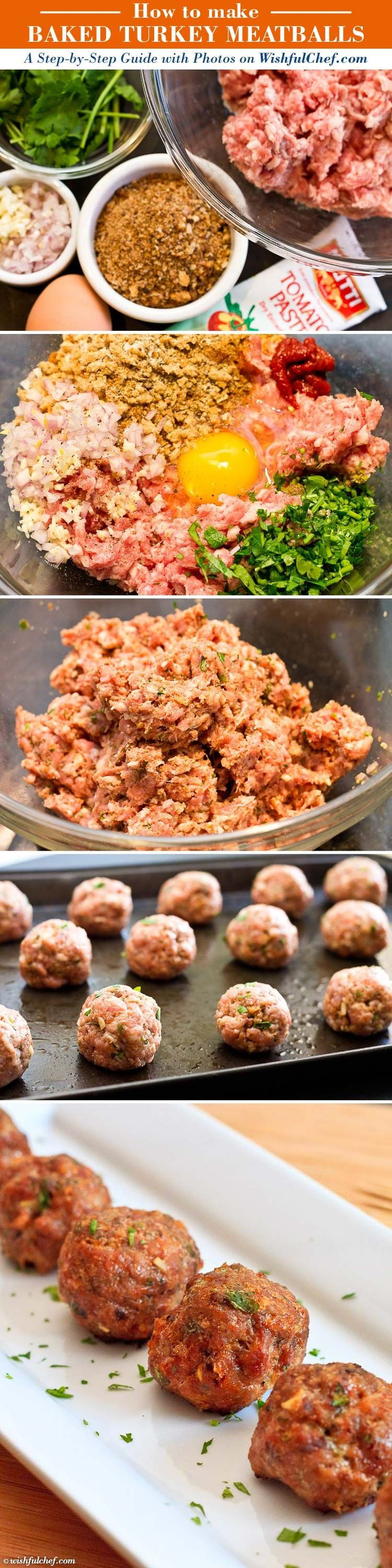 Baked Turkey Meatballs // wishfulchef.com.  - I added fresh Parmesan cheese to this recipe. We loved them and even my 13 month old daughter gave lots of mmmms!