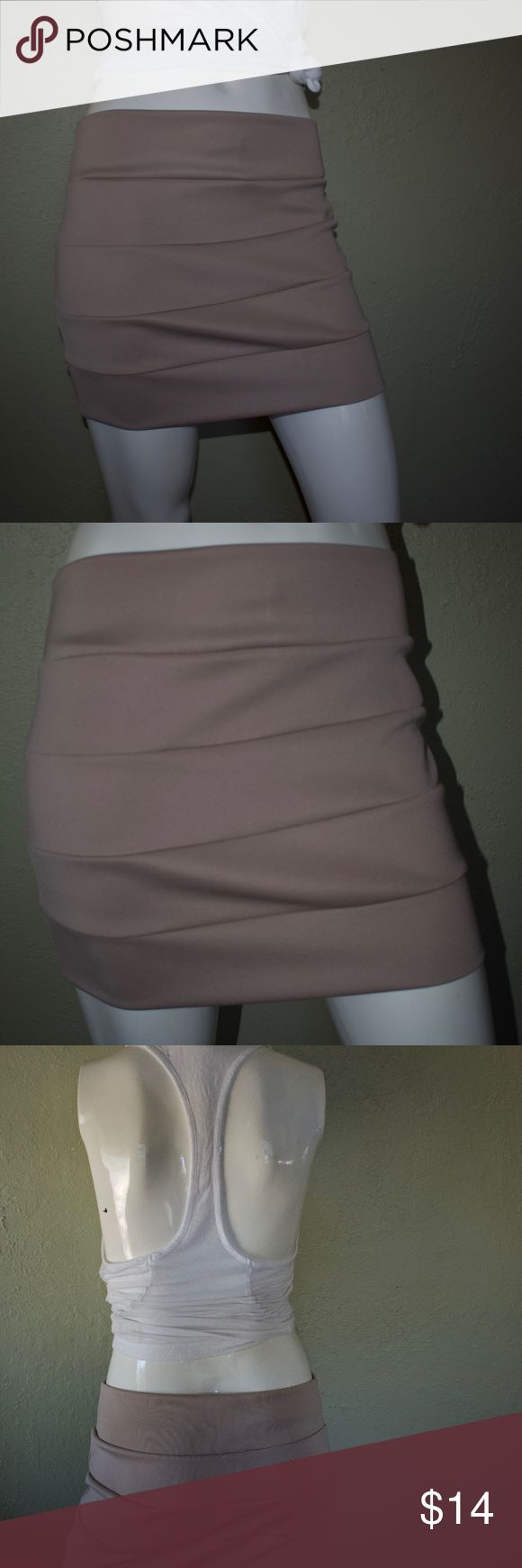 Girls night out tan high-waisted tight skirt Girls night out tan high-waisted tight skirt a'gaci Skirts Pencil