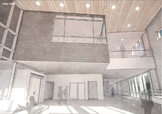 Rendering of Lobby/Entrance of new Community Centre Parkway Forest/Emerald City Toronto