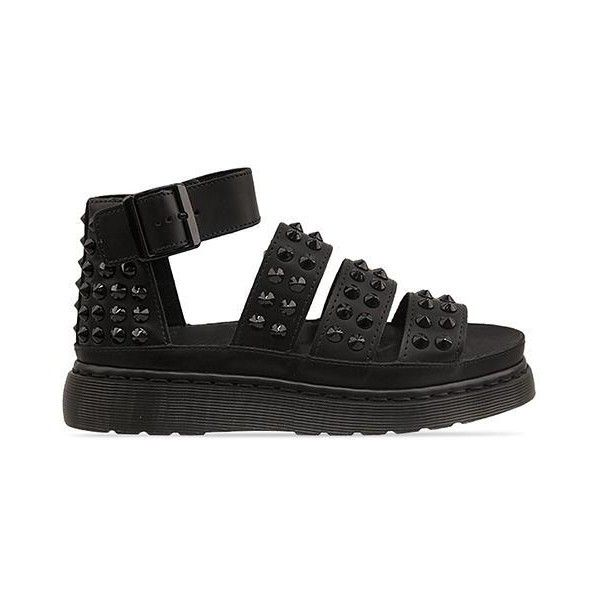 Dr. Martens Liza (£100) ❤ liked on Polyvore featuring shoes, sandals, black leather, leather sandals, black low heel sandals, low heel sandals, low heel shoes and wide strap sandals