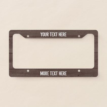 #Brown wood grain panel custom license plate frame - #country #wedding #celebration #beautiful