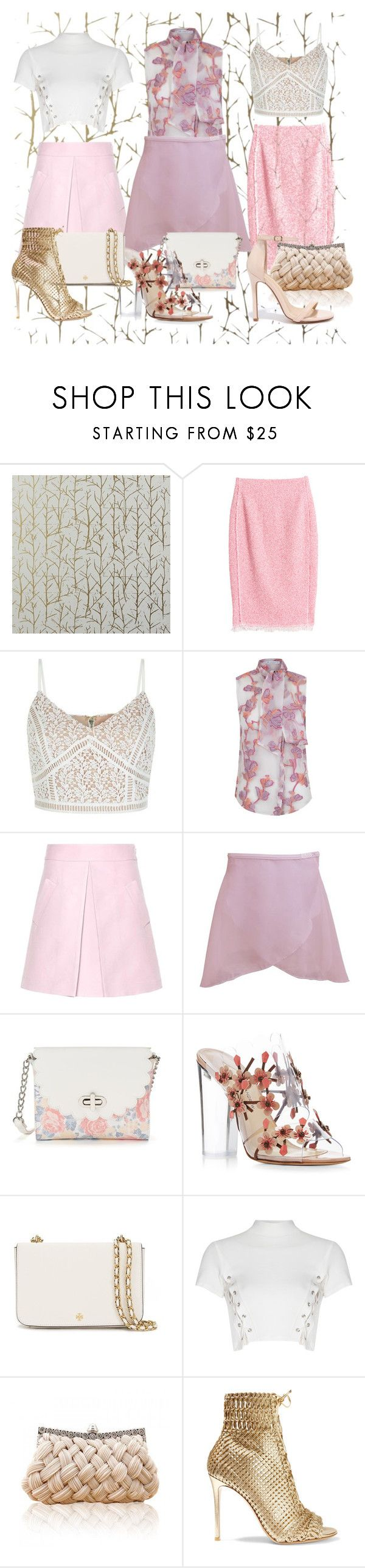 """Розовые юбки"" by inna2105 ❤ liked on Polyvore featuring CB2, Rebecca Taylor, New Look, The 2nd Skin Co., Marni, Candie's, Paul Andrew, Tory Burch, Glamorous and Gianvito Rossi"