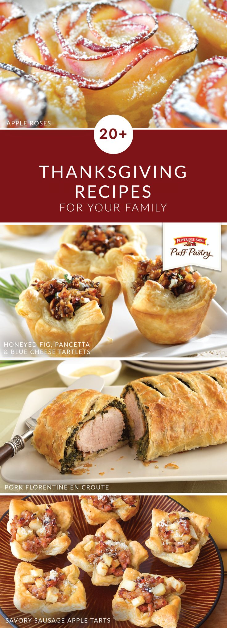 There's plenty to be thankful for when it comes to this collection of Thanksgiving recipes. With tasty Puff Pastry recipes like Pork Florentine En Croute; Sausage, Cranberry, and Stuffing Pastry; and Wrapped Pears with Vanilla Bean Sauce to choose from, you're sure to find an elegant dish for all of your holiday parties.