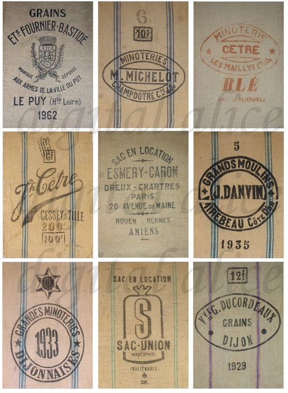 FRENCH GRAIN SACKS Feed Sacks Vintage Graphic Collage Sheet - Instant Download…
