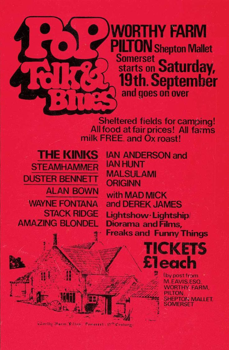 "Glastonbury Line-up, 1970. First edition. The first Festival was held on the day after Jimi Hendrix died, over a two day period and before long ""word had got around"". It was the Blues festival at the Bath & West Showground that had inspired Michael Eavis to begin a festival of his own although on a smaller scale. Acts included: Marc Bolan, Keith Christmas, Stackridge, Al Stewart, Quintessence Attendance: 1,500. Price: £1 including free milk from the farm."
