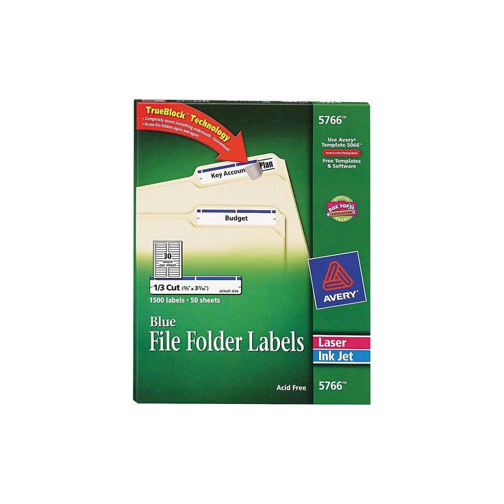 Avery Laser/Inkjet Self-Adhesive File Folder Labels - 1500 Per Box, White