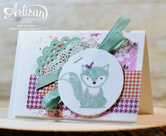 this pink rooster: Stamp Review Crew - Foxy Friends!, Sue Plote, Foxy Friends stamp set,  Stampin' Up!, Stamp Review Crew