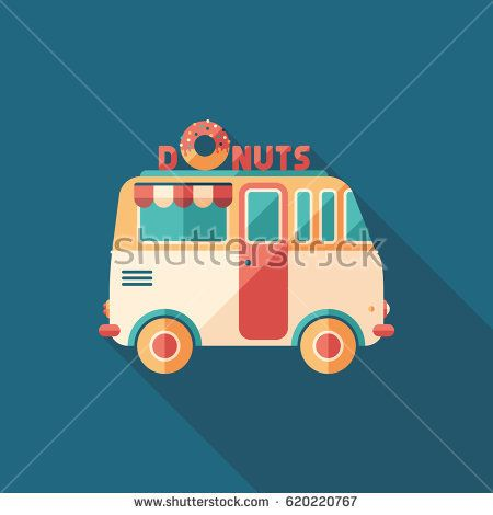 Donuts van flat square icon with long shadows. #foodicons #summericons #flaticons #vectoricons #flatdesign