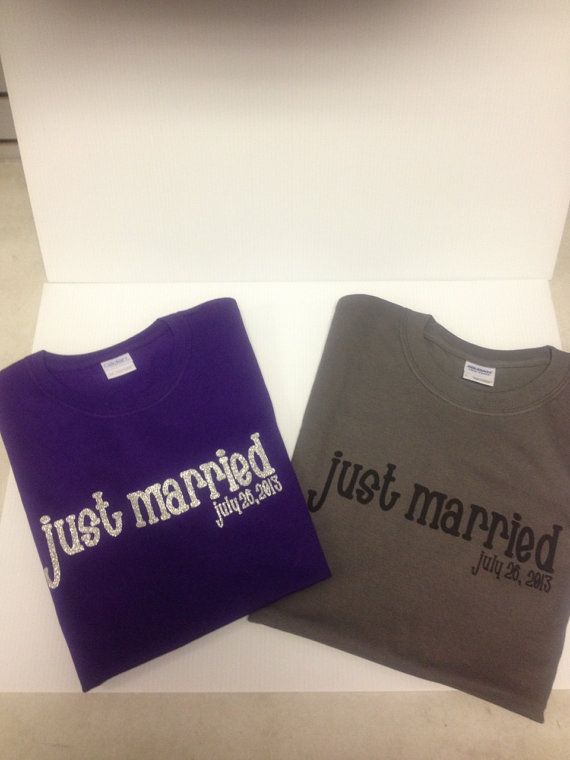 JUST MARRIED & DATE Matching shirts for bride and groom
