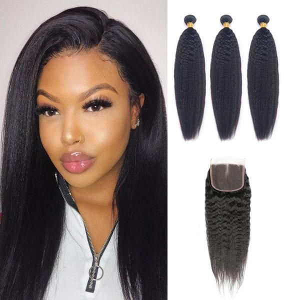 Yaki Straight Hair 3 Bundles With Lace Closure Human Hair 4x4 Closure Middle Three Free Part Swiss Lace Natural Hairl Human Hair Straight Hairstyles Swiss Lace
