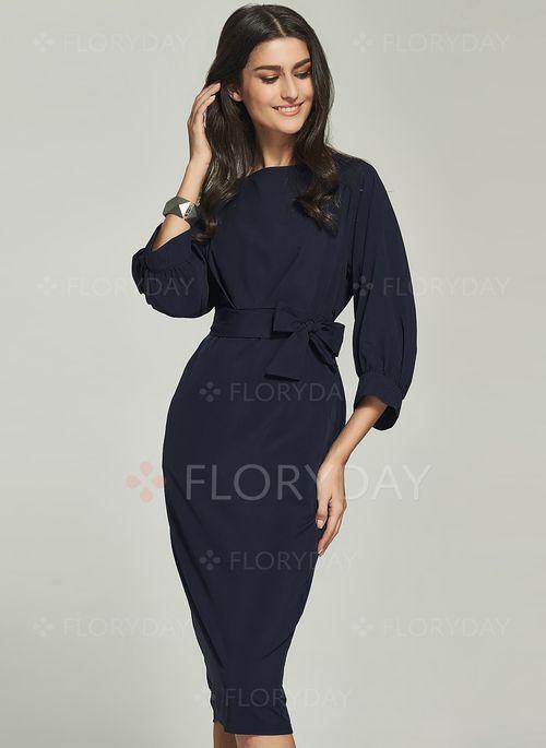 Suknia - $40.63 - Poliester Solidny 3/4 Rękawy Do Połowy Łydki Elegancki Suknia (1955114998)